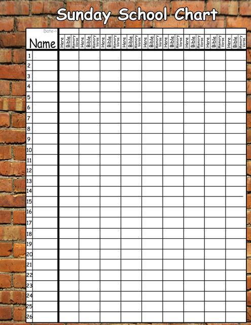Brickwall Sunday School Chart Decal