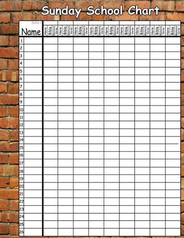 Brickwall Sunday School Chart Decal - Kids Room Mural Wall Decals