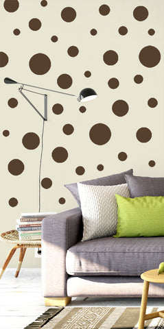 Polka Dot Wall Decals (63) Brown Dot Wall Decor Stickers - Kids Room Mural Wall Decals