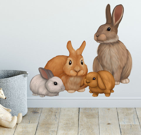 Bunny Rabbit Wall Decals ~Kids Room Animal Wall Stickers - Kids Room Mural Wall Decals