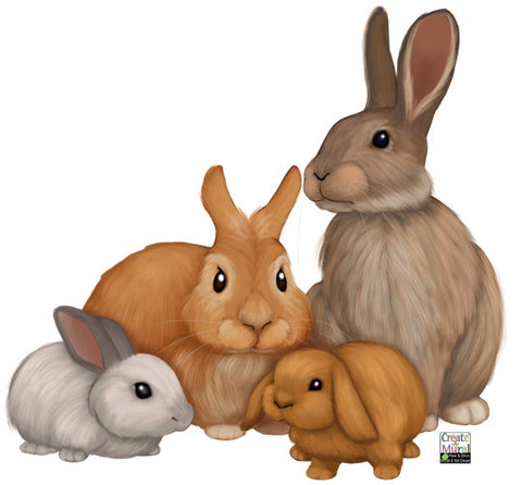 Bunny Rabbit Wall Decals ~Kids Room Animal Wall Stickers - Create-A-Mural