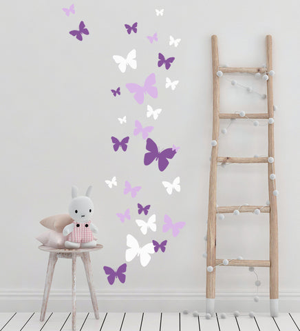 Butterfly Wall Stickers Purple Lilac & White -Girls Wall Decals - Kids Room Mural Wall Decals