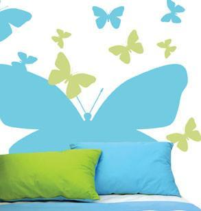 Butterfly Headboard Mural - Kids Room Mural Wall Decals