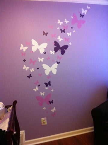 Butterfly Wall Stickers Purple Lilac U0026 White  Girls Wall Decals