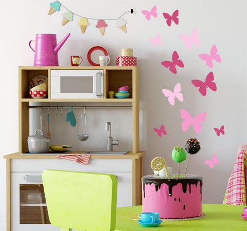 Butterfly Wall Decals 3 Pinks