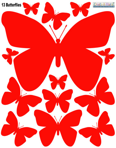 Butterfly Wall Decals-Red