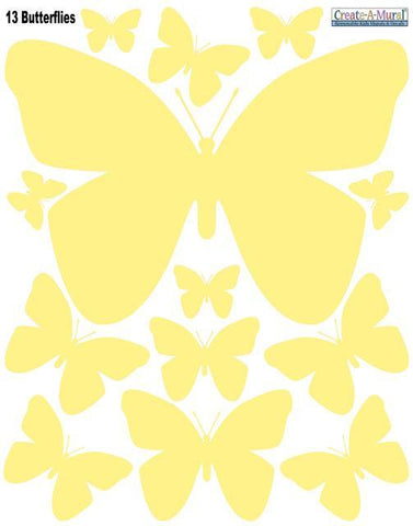 Butterfly Wall Stickers-Soft Yellow