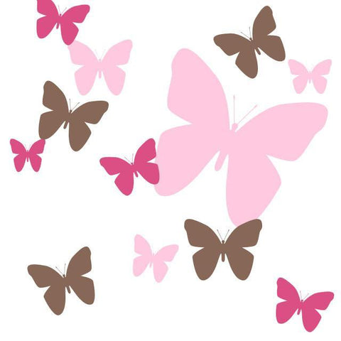 Butterfly Wall Decals-Hot Pink,Pink,Brown