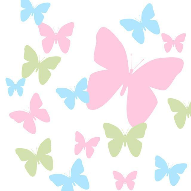 Butterfly Wall Decals-Soft Pink,Baby Blue & Sage Green