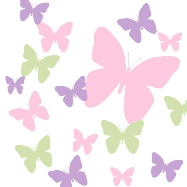 Butterfly Wall Decals- Pink, Lilac & Sage Green Appliques'
