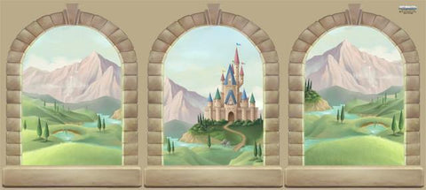 Princess castle wall decals murals for Castle window mural