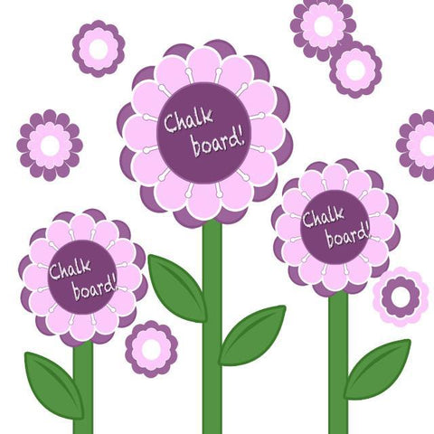 Chalkboard Flower Garden Decals - Kids Room Mural Wall Decals
