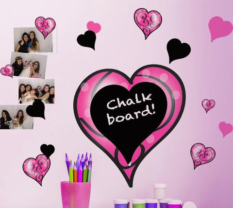 Chalkboard Pink & Black Swirly Heart Wall Stickers - Kids Room Mural Wall Decals