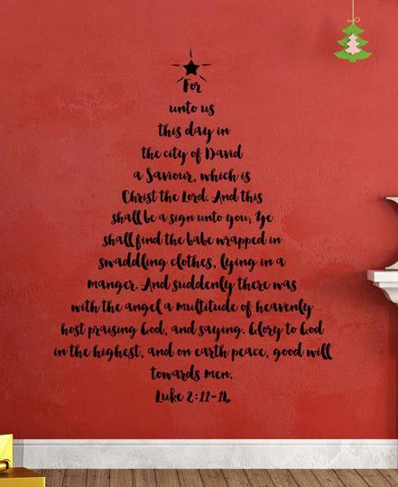 Christmas Tree In The Bible Scripture: Christmas Tree Scripture Wall Decal