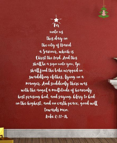 Christmas Tree Scripture Wall Decal - Create-A-Mural
