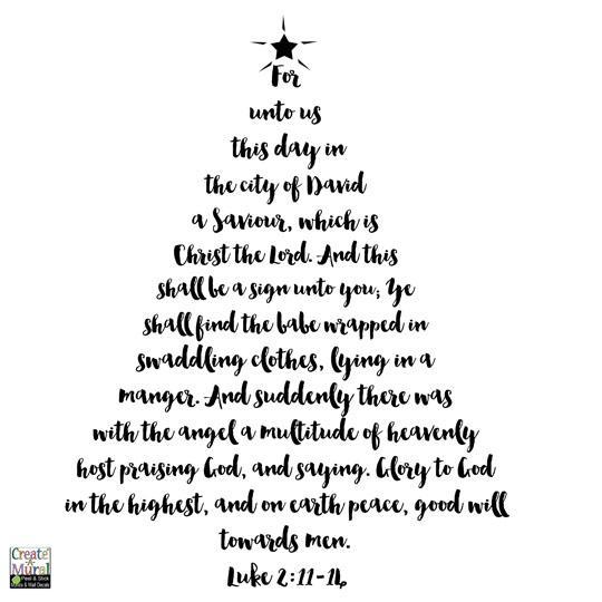 Meaning Of Christmas Tree Symbol: Christmas Tree Scripture Wall Decal