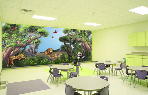 Jungle Animals Mural 2-Kids Wallpaper Church Ministry - Kids Room Mural Wall Decals