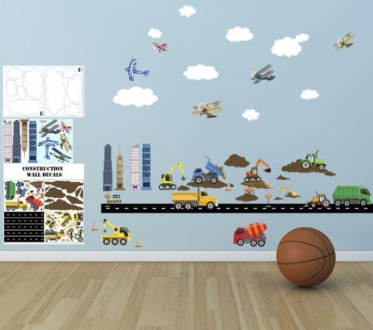 City Construction Truck & Planes Boys Wall Decals