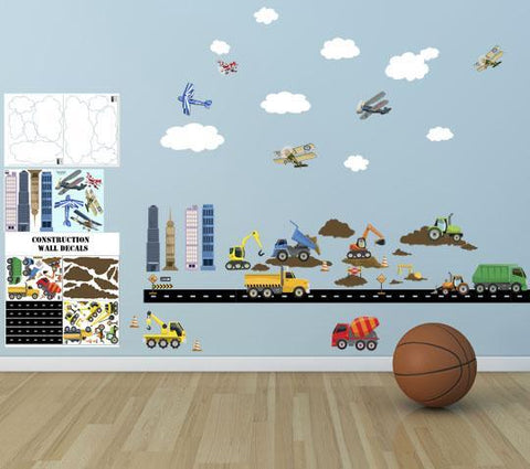 City Construction Truck & Planes Boys Wall Decals - Kids Room Mural Wall Decals