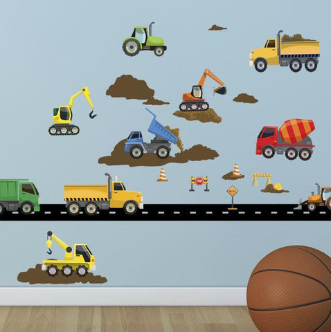 Truck Wall Decals Construction Boys Wall Decor Stickers - Kids Room Mural Wall Decals