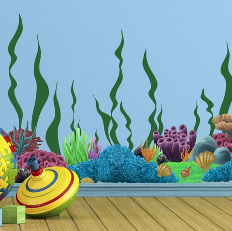 Coral Undersea Ocean w/ Seaweed Wall Decals - Kids Room Mural Wall Decals