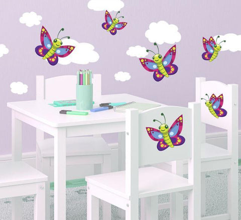 Cute Butterfly & Cloud Wall Decals - Kids Room Mural Wall Decals