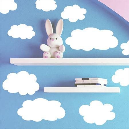 Kids Fluffy Cloud Wall Decals - Kids Room Mural Wall Decals