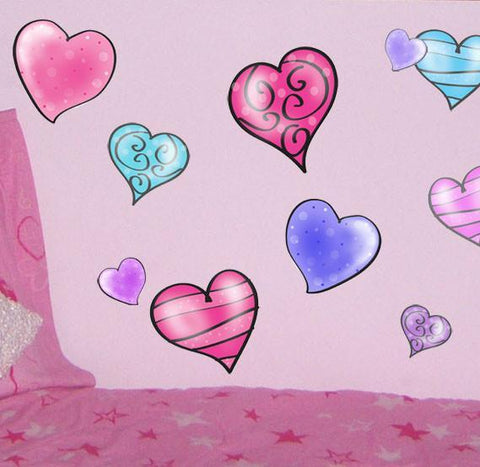 Flirty Heart Wall Stickers - Kids Room Mural Wall Decals