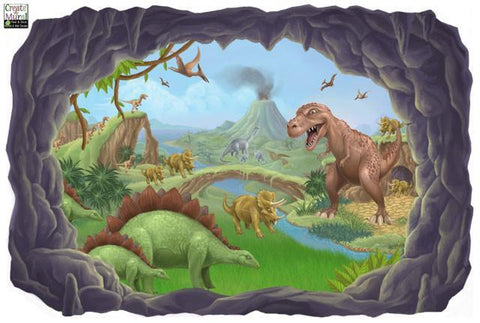 Dinosaur Adventures Mural -Boys Room Mural - Kids Room Mural Wall Decals