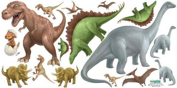 Large Dinosaur Mural Decals For Prehistoric Theme Kids Bedroom
