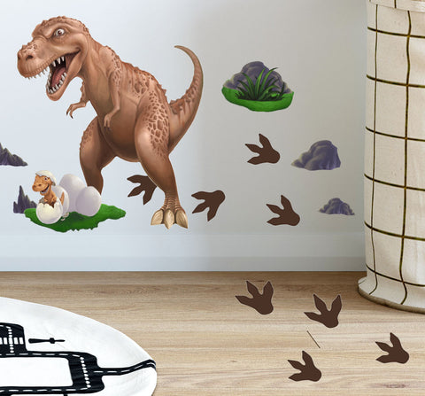 Dinosaur T-Rex Daddy n' Baby Footprints Wall Decals - Kids Room Mural Wall Decals