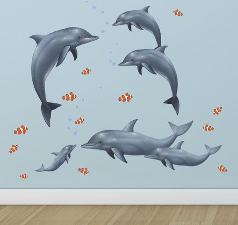 Dolphin Family Wall Decals - Kids Room Mural Wall Decals