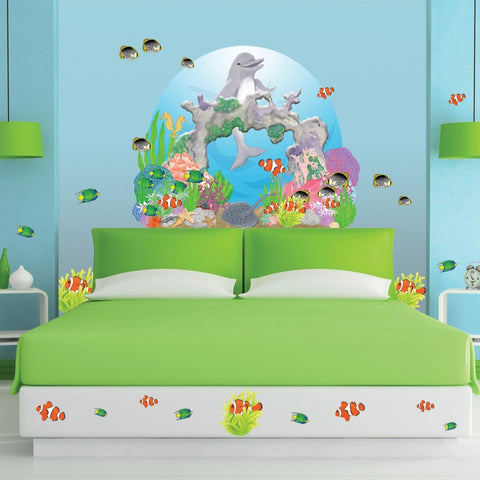 Happy Dolphin Mural - Kids Room Mural Wall Decals