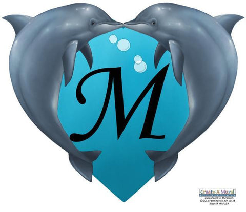 Dolphin Heart Mural -Custom - Kids Room Mural Wall Decals