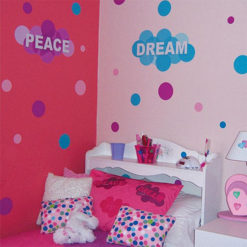 Word Bubble & Dots Room Mural