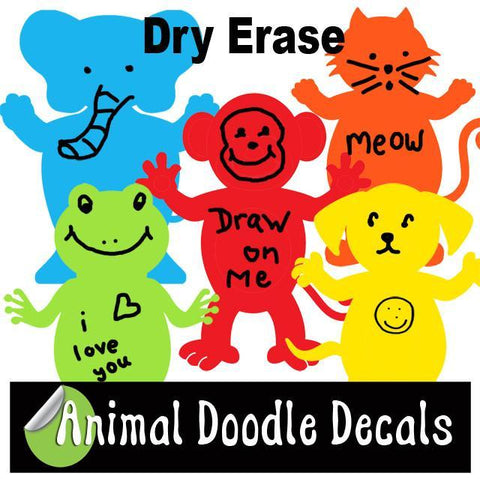 Dry Erase for Kids ~Animal Doodle Decals - Kids Room Mural Wall Decals
