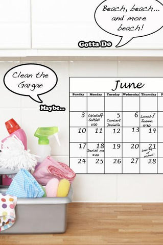 Dry Erase Calendar - Kids Room Mural Wall Decals