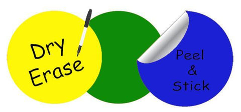 Dry Erase Dot Wall Decals: Peel & Stick, Writable, Erasable (Yellow,Green,Blue)