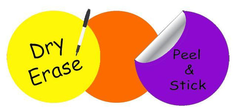 Dry Erase Dot Wall Decals: Peel & Stick, Writable, Erasable (Yellow,Orange,Purple)
