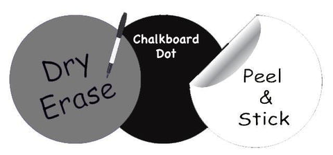Dry Erase Dot Wall Decals: Peel & Stick, Writable, Erasable (Black,Gray,White) - Create-A-Mural