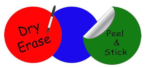 Dry Erase Dot Wall Decals: Peel & Stick, Writable, Erasable (Red,Blue,Green) - Create-A-Mural