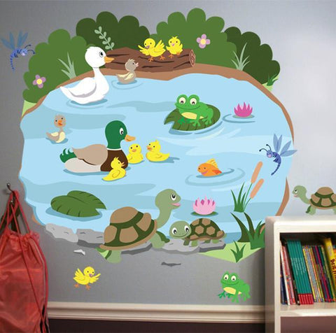 Duck Pond Mural - Kids Room Mural Wall Decals