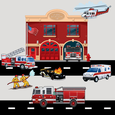 Fire Station Brigade Wall Decals - Create-A-Mural