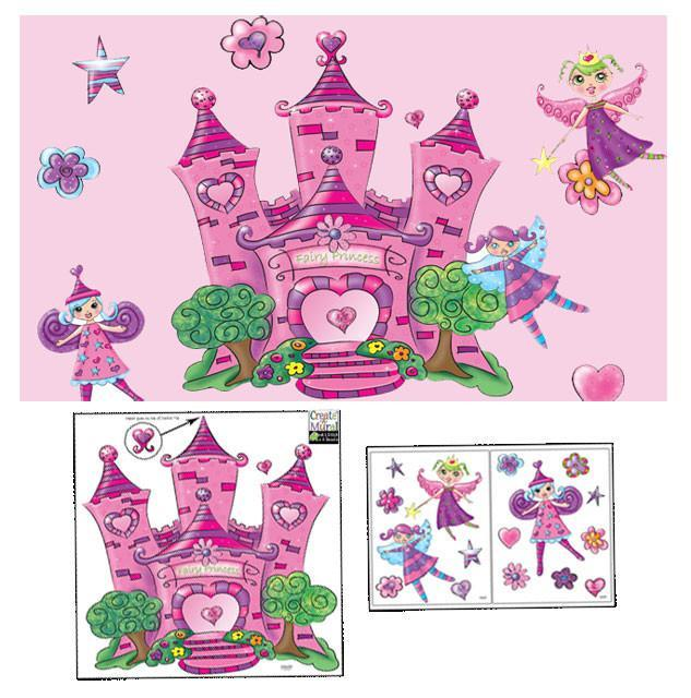 Fairy princess castle mural to create a whimiscal girls room for Fairy princess wall mural