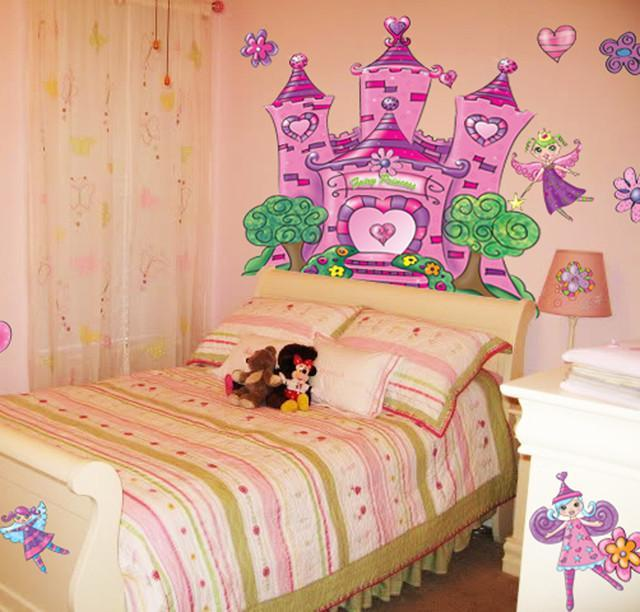 Fairy princess castle mural to create a whimiscal girls room for Fairy castle mural