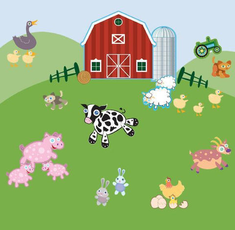 Fun Family Farm Animals Mural - Kids Room Mural Wall Decals