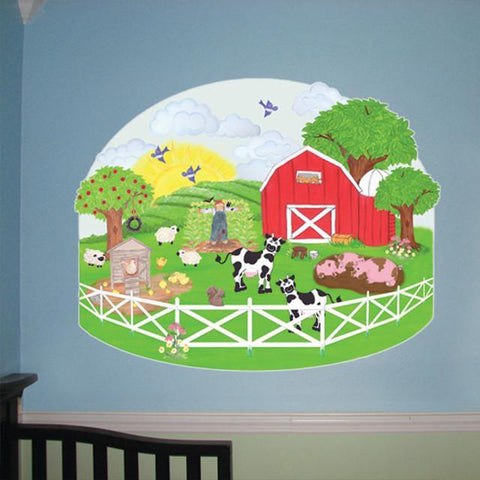 Barnyard Mural -Baby Room Wall Mural - Kids Room Mural Wall Decals