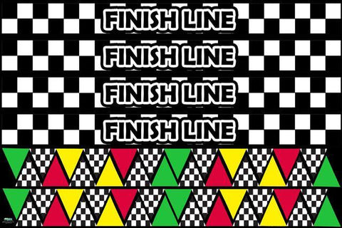 Race Flags & Finish Line Border Decals - Kids Room Mural Wall Decals