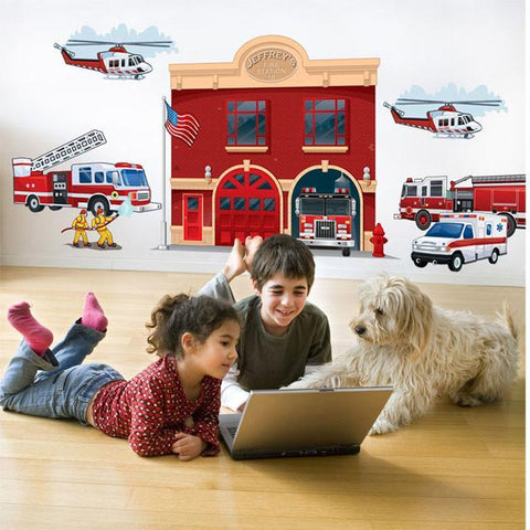 Fire Station Mural - Kids Room Mural Wall Decals