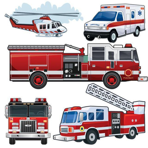 Large Fire Truck & Vehicles Wall Decal